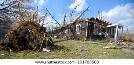 HENRYVILLE, IN - MARCH 3 : A tree rest on a tornado damaged home Saturday March 3, 2012 in Henryville, Ind.