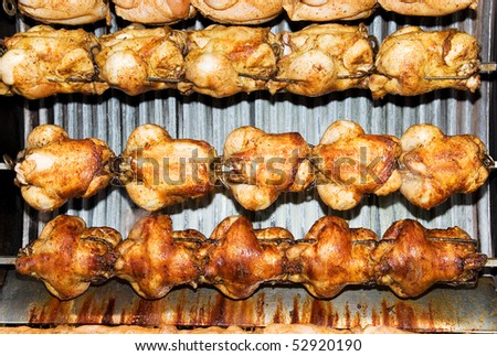 Hens on a spit