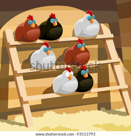 stock photo : Hens sleep on a perch in a hen house, raster
