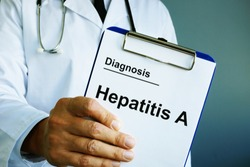Hepatitis A diagnosis in the hands of a doctor.