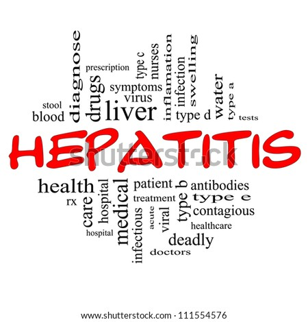 Hepatitis Word Cloud Concept in red and black letters with great terms such as liver, doctors, virus, type b, viral, symptoms and more.