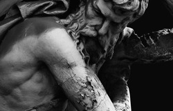 Hephaestus. In antique Greek and Roman mythology god of the forge and blacksmiths. Ancient statue.