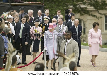 Her Majesty Queen Elizabeth II and Prince Philip, Virginia Governor Timothy M. Kaine and First Lady Anne Holton arriving at the Virginia State Capitol, May 3, 2007