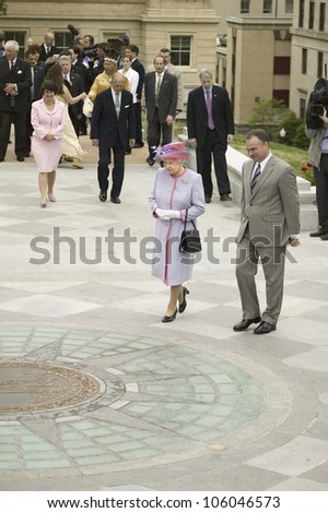 Her Majesty Queen Elizabeth II and Virginia Governor Timothy M. Kaine walking in front of the State Seal, Richmond Virginia as part of the 400th anniversary of the Jamestown Settlement, May 3, 2007