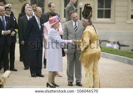 Her Majesty Queen Elizabeth II, Prince Philip and Virginia Governor Timothy M. Kaine meeting Powhatan Tribal Member, Virginia as part of the 400th anniversary of the Jamestown Settlement, May 3, 2007