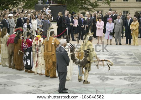 Her Majesty Queen Elizabeth II, Prince Philip, Virginia Governor Timothy M. Kaine, Anne Holton and former Governor L. Douglas Wilder observing Native American Indian Ceremony, Virginia, May 3, 2007