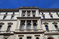Her Majesty's Treasury. London landmark, UK -  The Exchequer, also known as Her Majesty's Treasury building.