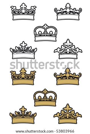 Heraldic crowns and diadems for design and decorate. Vector version also available in gallery
