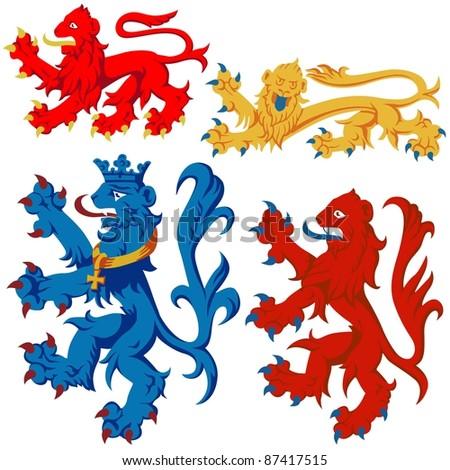 Heraldic Lion - colored illustrations