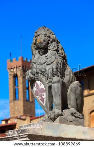 Heraldic lion near Palazzo Vecchio. Florence. Italy.