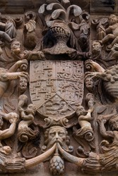 Heraldic stone shield with Miera, Rubalcaba, Velasco, Riba and Agüero arms on Miera-Rubalcaba palace facade in Liérganes village of Pasiegos valleys of Cantabria Autonomous Community of Spain, Europe