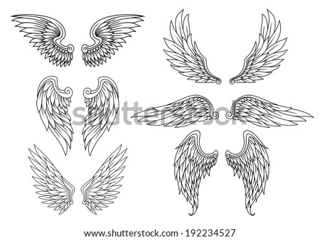 Heraldic wings set for tattoo or mascot design Vector version also available in gallery
