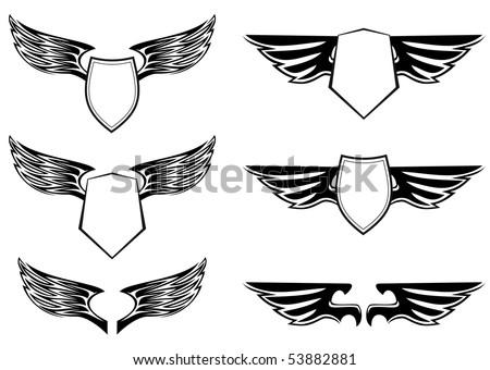 Wings Shield Scrolls Heraldic Wings With Shields