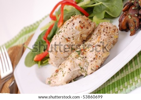 Herb Chicken Breast Dinner with Salad