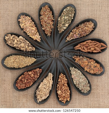 Herb selection used in medicinal and magical potions over hessian background.