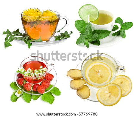Herbal and fruit teas,Collection set isolated on white background