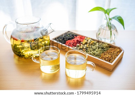Herbal health tea brewed on the table Photo stock ©