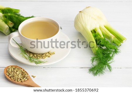 Herbal infusion fennel tea in glass cup or mug with dried fennel seeds and fennel bulbs. Alternative medicine background concept (Foeniculum vulgare) Foto stock ©