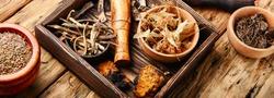 Herbal medicine,medicinal herbs and herbal medicinal root.Natural herbs medicine.Chinese herbal medicine