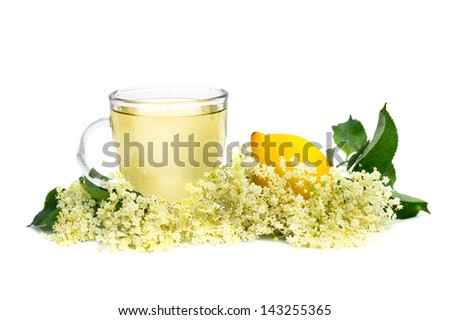 herbal medicine tea with elder flower - stock photo