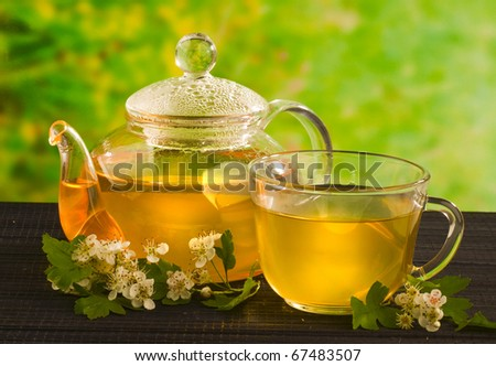 herbal medicine, tea with hawthorn flower