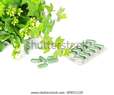 herbal medicine with green plant