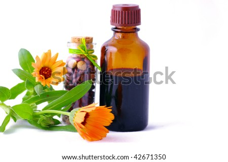 Herbal medicine with herbs . Isolated white background. Studio shot
