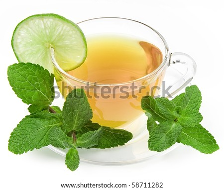 Herbal mint tea glass cup isolated over white background