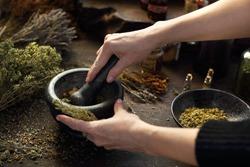 Herbal oils and natural medicines. Herbal medicine and alternative medicine..