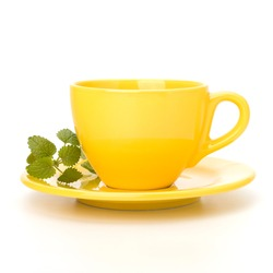 Herbal peppermint tea cup isolated on white background. Alternative medicine concept.