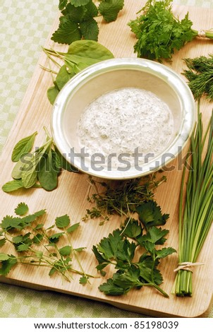 herbal sauce - stock photo
