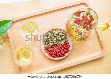 Herbal scented medlar and chrysanthemum tea Stock photo ©