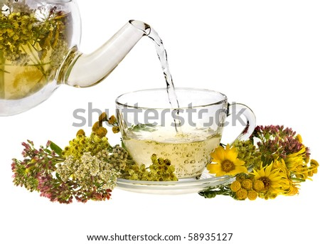 herbal tea and fresh herb isolated on white background