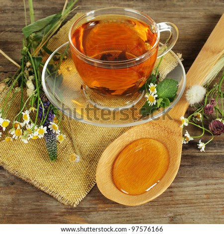 Herbal tea and honey