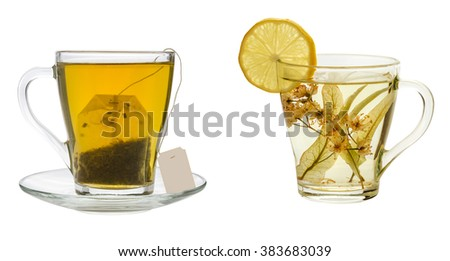 herbal tea and tea bag on a white background #383683039