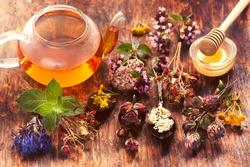 Herbal tea, herbs and flowers