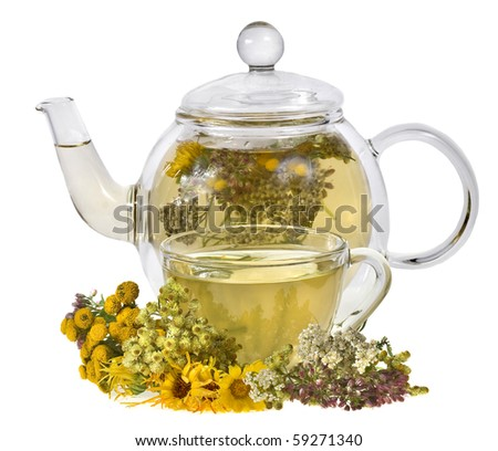 herbal tea with aroma fresh herb isolated on white background