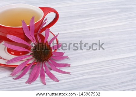 Herbal tea with Echinacea on a wooden table