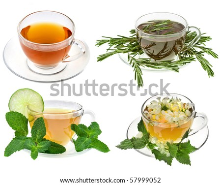 Herbal teas. Collection isolated on white background