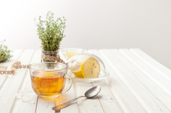 herbal teas with lemon and thyme on the garden table