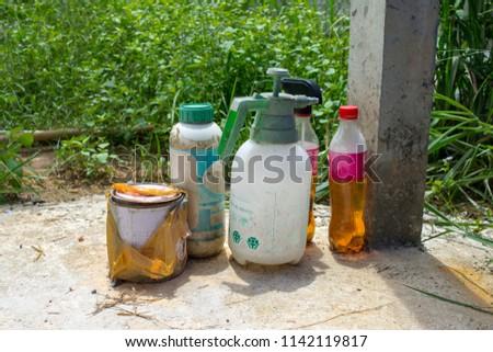 Herbicides at garden.