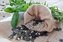 Herbs and Seeds with hessian sack