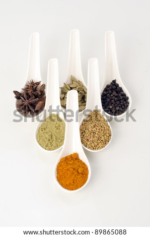 Herbs and spices in white spoons