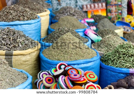 Herbs and spices on a market in  Marrakech, Morocco