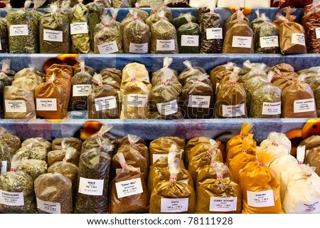 Herbs and spices on a market with flavors from all over the world