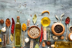 Herbs and spices on grunge background