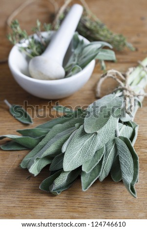 Herbs with mortar and pestle