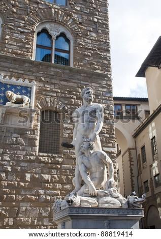 Hercules and Cacus by Baccio Bandinelli, Piazza della Signoria, Florence. - stock photo