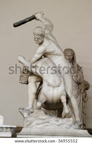 Hercules fighting with centaur Nessus, a mythological tale.