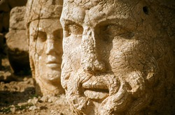Hercules giant head at Nemrut Dag colossal statues guarding ancient tomb,Turkey